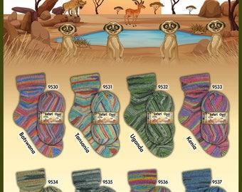 Opal Sock Yarn Safari NEW full set all 8 colors, 75% wool 25 nylon 100 grams 462 yards superwash fingering HERE NOW