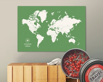 Push Pin Map (Leaf) Push Pin World Map Pin Board World Travel Map on Canvas Push Pin Travel Map Personalized Wedding/Anniversary Gift