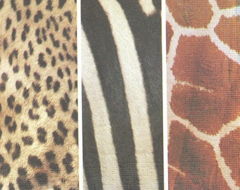 5 Paper Napkins Animal Skins Lunch for Decoupage Collage Decopatch