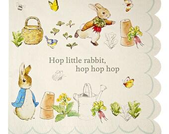 Peter Rabbit Large Paper Napkins (20) by Meri Meri, Peter Rabbit Baby Shower Decor, Peter Rabbit 1st Birthday, Peter Rabbit Party Napkins
