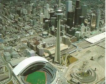 Vintage 1980s Postcard Toronto Ontario Canada City Skyline CN Tower Skydome Baseball Stadium Scenic View Card Photochrome Postally Unused