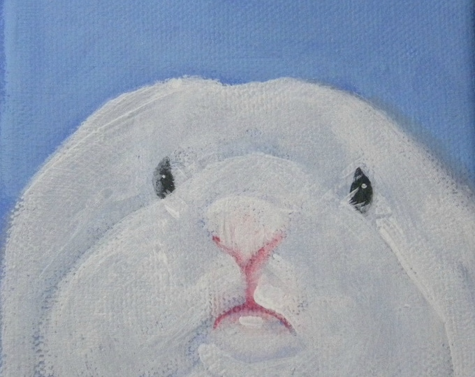 Adorable white lop bunny card