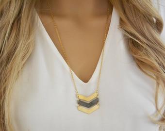 Chevron Necklace, V necklace, Long Chevron Necklace, Gold Chevron Necklace, Triple Chevron Necklace, gold Necklace, Long Necklace