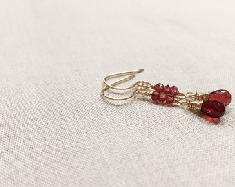 Garnet and Gold Trio Drops - Red Garnet Wire Wrapped in 14k Yellow Gold Fill with Faceted Garnet Trios January Birthstone Elegant Earrings