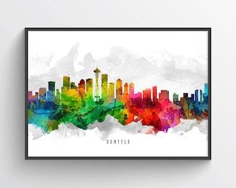 Seattle Skyline Poster, Seattle Cityscape, Seattle Print, Seattle Art, Seattle Decor, Home Decor, Gift Idea, USWASE12P