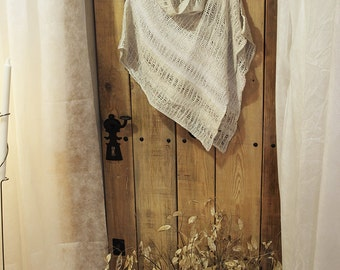 Linen clothing - Shawl white/beige color  (10)