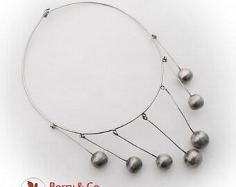 Modernist Choker Necklace Ball Dangles Sterling Silver