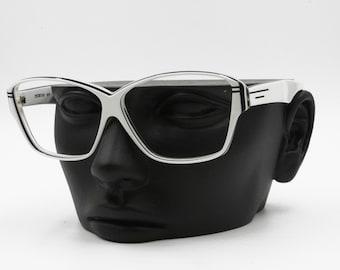 Luxottica vintage rectangular eyeglasses sunglasses frame white & blue, multilayer acetate, New Old Stock