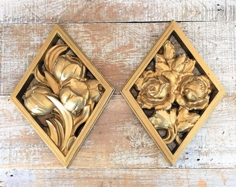 Flower Wall Hangings Set of 2 Flowers Wall Art Gold Floral Art 3D Flowers Wall Hanging Boho Art Mid Century Wall Art Cottage Chic Decor