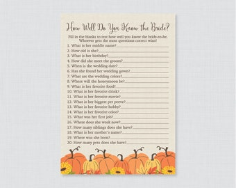 Pumpkin Bridal Shower How Well Do You Know the Bride To Be Game - Printable Rustic Fall Wedding Shower Game - Who Knows the Bride Best? 0019