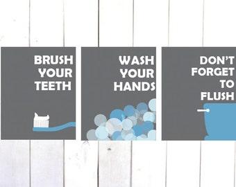 Brush Your Teeth, Kids Bathroom Art, Wash Your Hands Print, Kids Bathroom Set, Kids Bathroom Decor,Brush Wash Flush,Bathroom Artwork,Prints
