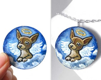 Chihuahua Art, Dog Painting, Hand Painted Wood Pendant, Memorial Necklace, Guardian Angel, Pet Portrait, Keepsake Gift for Dog Owner