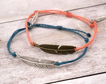 Feather Charm Bracelet, Wax Cord Bracelet, Waterproof Bracelet, Adjustable Friendship, Boho Surfer Bracelet, Stackable Beach Bracelet