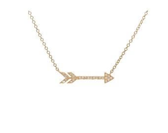 Dainty 14k Gold Diamond Arrow Necklace