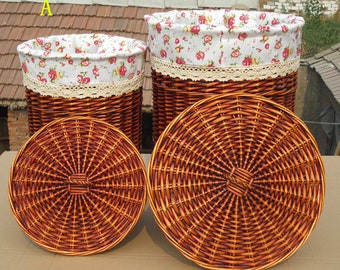 Cane makes up, wicker basket ,The laundry basket ,Clothes basket, Handwoven Laundry Basket with Lid, Round basket, Make to order