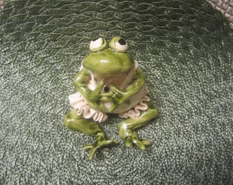 Frog Sculpture Hand Made From Clay Glazed One of a Kind