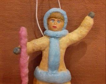 """Christmas Spun cotton ornament """"Girl"""""""