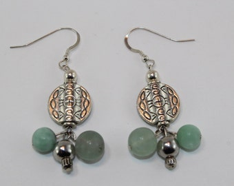 Pewter and Mint Drop Earrings