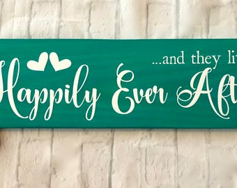 "and they lived Happily Ever After, Wedding Sign, Beach Wedding Decor, Newlyweds, Wedding Gift, Romantic Decor rustic wall decor, 24"" x 8"""