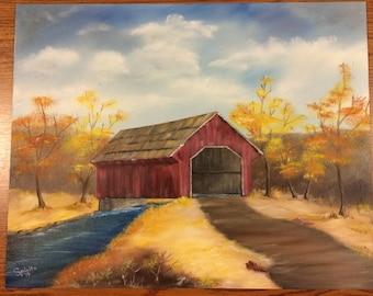 Red Barn, Bridge, River, Autumn Leaves, Farm, Peaceful, Handmade, Original Oil Painting, Canvas