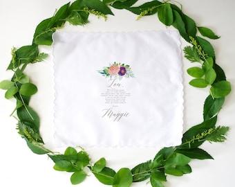 Wedding Handkerchief - Mother In Law Gift - Personalized Handkerchief - Wedding Gift to Mother - Custom Wedding Gift - Personalized Gift