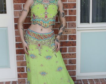 Fabulous Green Heavily Beaded Belly Dance Two Piece Top and Skirt