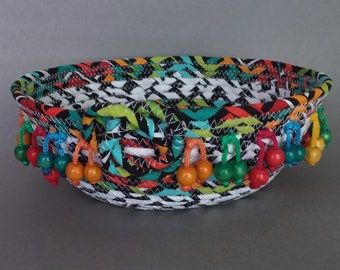 Coiled Fabric Basket, Fiesta