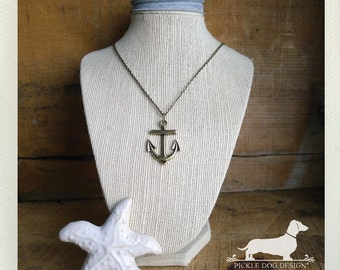 I Love You a Yacht. Anchor Necklace -- (Preppy, Nautical, Silver, Gold, Simple, Classic, Boat, Ocean, Navy, Beach, For Her, Gift Under 15)