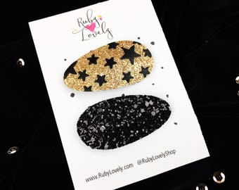 Glitter snap clips, Black and Gold Hair Clips, New Years Hair clips, Hair Clip Set, Snap Clip Set, Snap Clips, Gold Black snap clips
