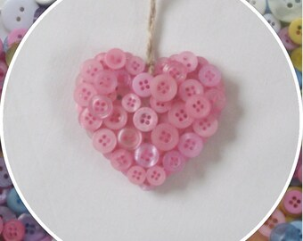 Handmade Light Pink Button Hanging Hearts