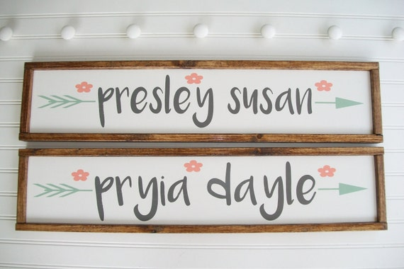 Large Baby Name Sign Set . Baby Girl Nursery Decor. Twins Nursery . Woodland Arrow Name Sign . Woodland Nursery Decor . Nursery Name Sign