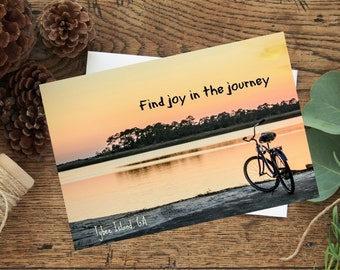 Enjoy the journey, original photo, bicycle on the beach at sunset, greeting card