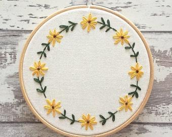 "Custom Embroidery Hoop 5"" Personalised Embroidery Wall Art - Flower Embroidery Hoop Art - Embroidery Flowers - Sunflower Embroidery Hoop"