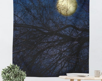 Full Moon Tapestry - Royal Blue Art - Gothic Tapestry - Moon Photography - Dorm Room Decor - Home Decor - Moon Tapestry - Hipster Tapestry