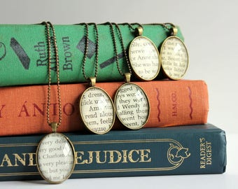 personalized book jewelry - custom name pendant from book - Jane Austen name jewelry - teacher holiday gift - custom gift for English major