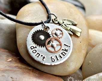 LIMITED DESIGN - Doctor Who Don't Blink Metal Hand Stamped Necklace - Weeping Angels - Doctor Who Fandom - Whovian Gift-Fandom Gift - Unisex