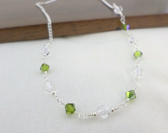 Green necklace, emerald necklace, crystal necklace, delicate necklace, silver necklace, dainty necklace, elegant necklace, classic necklace