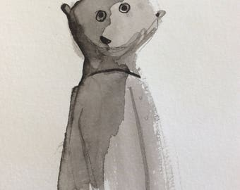 Bear drawing brush and ink original outsider art