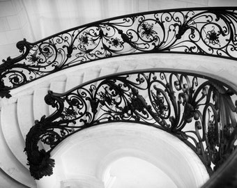 Paris black and white photography, spiral staircase, winding staircase, Paris stairs, Paris photography, black and white photo, Paris decor