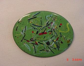 Vintage Enamel Over Copper Brooch  18 - 613