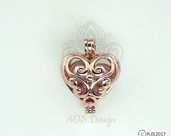 Rose Gold Plated Pick A Pearl Cage Fairy Multi Pearl Holder Scroll Work Heart Locket Holds Pearl Bead Gem