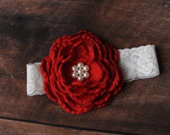 Red Flower Headband, Dark Red Headbands, Newborn Headbands, Red Headbands, Red Baby Headbands, Photography Props