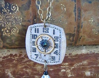 Steampunk Jewelry Necklace - Watch Face - Steampunk Necklace- Repurposed art