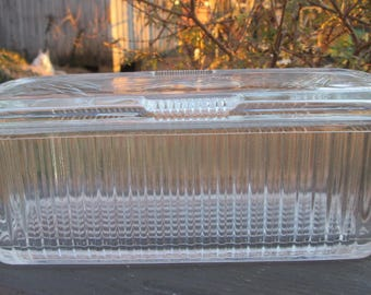 Vintage Glass Refrigerator Dish - Large Clear Glass Storage Dish - Rectangular Lidded Dish