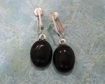 Black Clip On Earrings, Dangle Clip Earrings, Non Pierced Earring, Black Fused Glass Jewelry, Clipon, Ready to Ship - Said -7
