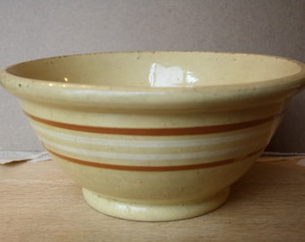 Yellow ware  large mixing bowl with tan and white bands