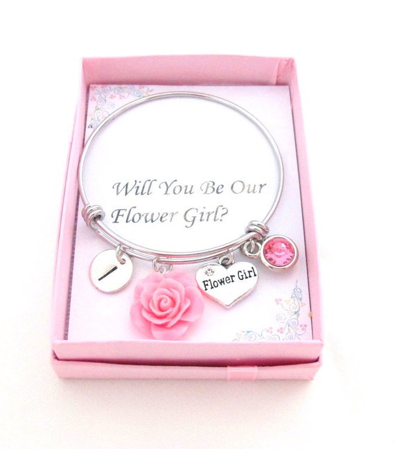 Flower Girl Proposal,Will you be Our Flower girl,Flower Girl Gift,Flower Girl Bangle Bracelet,Ask Flower girl,Wedding Gift,Free Shipping USA