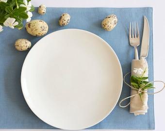 Reversible Placemats – Duck Egg Blue & Natural Hemp / Organic Cotton
