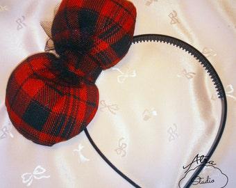 Visual Kei / Punk Lolita Puffy Bow Tartan Headbands