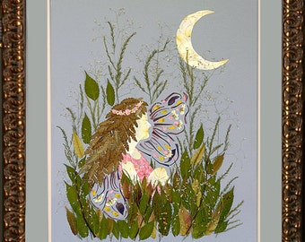 """Enchanted Garden Fairy Flower Art - """"Eclipse"""" Design made with REAL Flower Blossoms"""